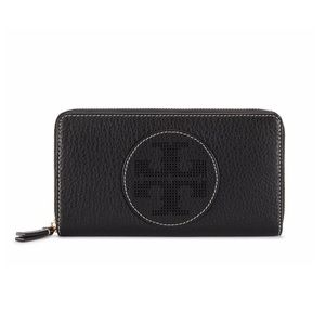 Black Perforated Logo Zip Continental Wallet